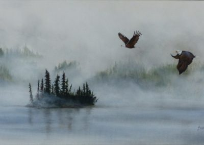 Misty Morning on Lac la Hache, B.C. Acryllic on 15`x 30`canvas framed $375 By Bobbie Crane