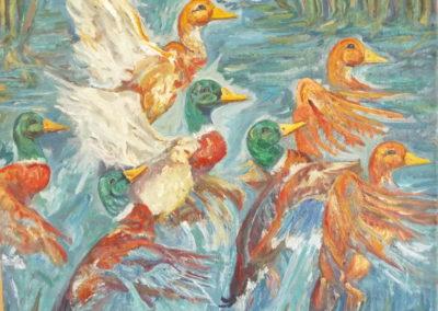 Ducks in Reeds, Dixie Watson (artist)